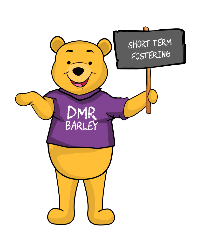 DMR Barley holding a sign saying what is short term fostering and short term foster carer jobs Birmingham, Coventry and Wolverhampton with DMR Fostering Services